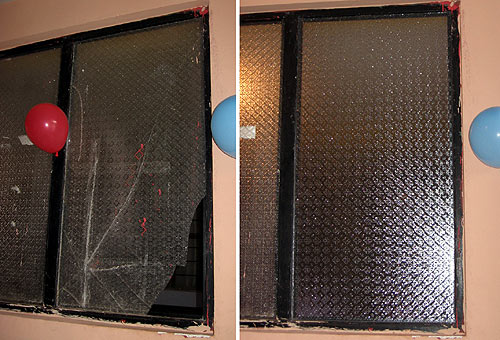 One of the three repaired windows: before and after