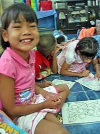 Children enjoying crafts