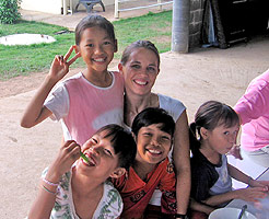 Sally and Casey Lockett visit orphans in Thailand