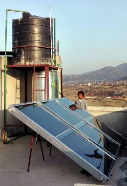 Solar-powered hot water heater contributed to the orphanage